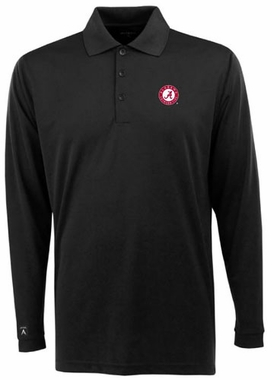 Alabama Mens Long Sleeve Polo Shirt (Color: Black)