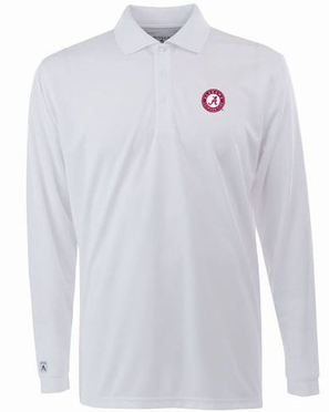 Alabama Mens Long Sleeve Polo Shirt (Color: White)