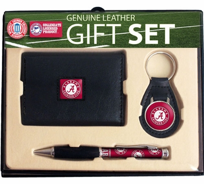 Alabama Trifold Wallet Key Fob and Pen Gift Set