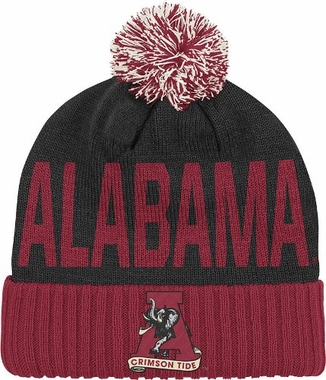 Alabama Wordmark & Logo Pom Knit Hat