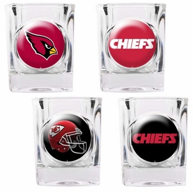Arizona Cardinals 4 Piece Assorted Shot Glass Set