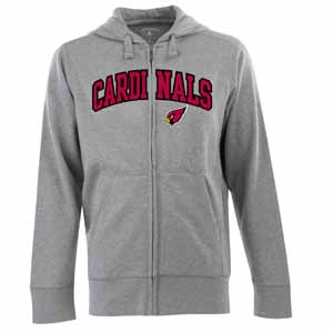 Arizona Cardinals Mens Applique Full Zip Hooded Sweatshirt (Color: Gray) - Medium