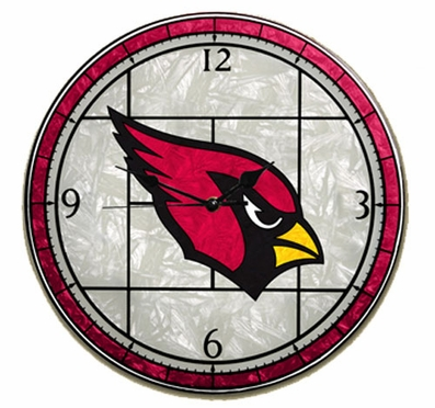 Arizona Cardinals Art Glass Clock