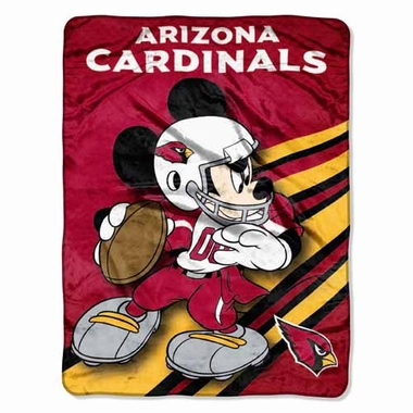 Arizona Cardinals Mickey Mouse Microfiber Throw