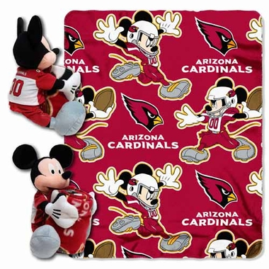 Arizona Cardinals Mickey Mouse Pillow / Throw Combo