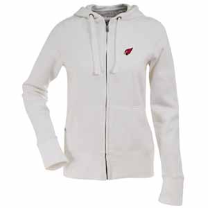 Arizona Cardinals Womens Zip Front Hoody Sweatshirt (Color: White) - X-Large