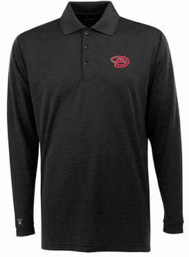 Arizona Diamondbacks Mens Long Sleeve Polo Shirt (Team Color: Black)