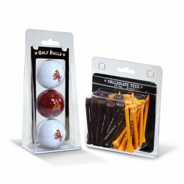 Arizona State 3 Golf Balls And 50 Golf Tees