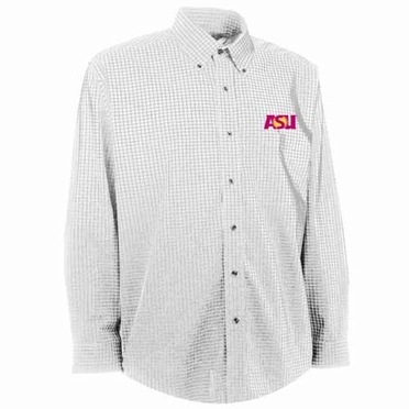 Arizona State Mens Esteem Check Pattern Button Down Dress Shirt (Color: White)