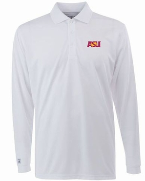 Arizona State Mens Long Sleeve Polo Shirt (Color: White)