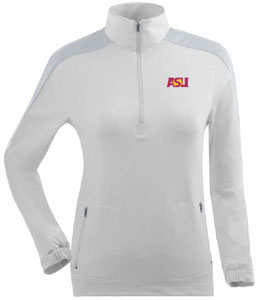 Arizona State Womens Succeed 1/4 Zip Performance Pullover (Color: White) - Small