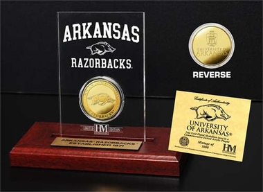 Arkansas Razorbacks University of Arkansas 24KT Gold Coin Etched Acrylic