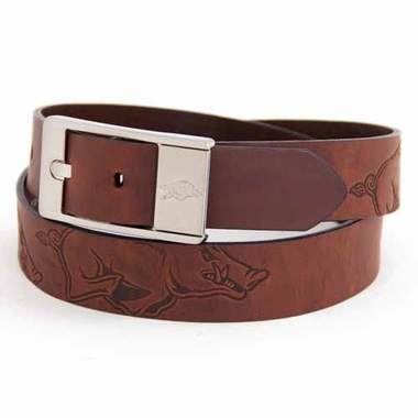 Arkansas Brown Leather Brandished Belt