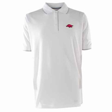 Arkansas Mens Elite Polo Shirt (Color: White)