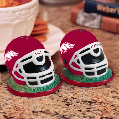 Arkansas Helmet Ceramic Salt and Pepper Shakers