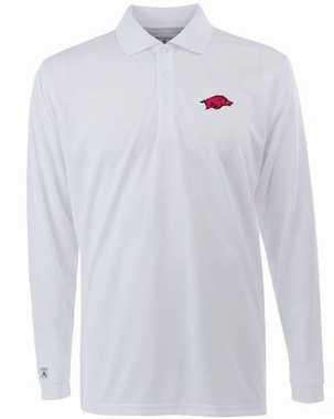 Arkansas Mens Long Sleeve Polo Shirt (Color: White)