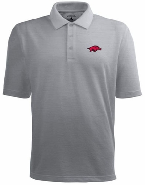 Arkansas Mens Pique Xtra Lite Polo Shirt (Color: Gray)