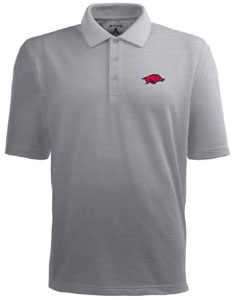 Arkansas Mens Pique Xtra Lite Polo Shirt (Color: Gray) - X-Large