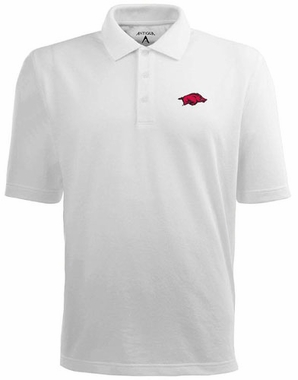 Arkansas Mens Pique Xtra Lite Polo Shirt (Color: White)