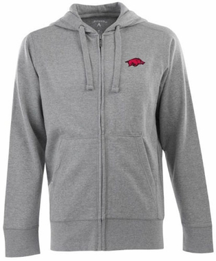 Arkansas Mens Signature Full Zip Hooded Sweatshirt (Color: Gray)