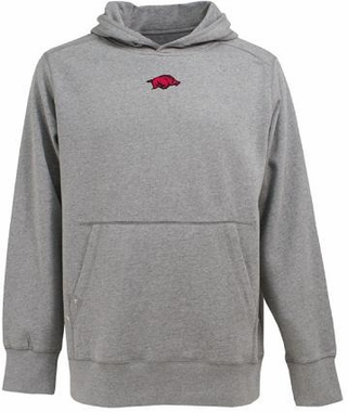 Arkansas Mens Signature Hooded Sweatshirt (Color: Gray)