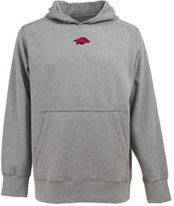 Arkansas Mens Signature Hooded Sweatshirt (Color: Gray) - Medium