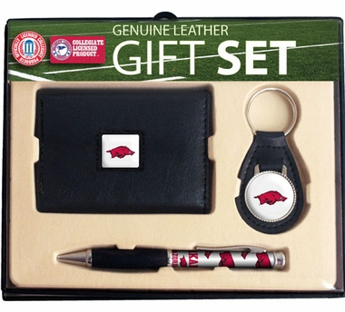 Arkansas Trifold Wallet Key Fob and Pen Gift Set