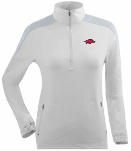 Arkansas Womens Succeed 1/4 Zip Performance Pullover (Color: White) - Medium