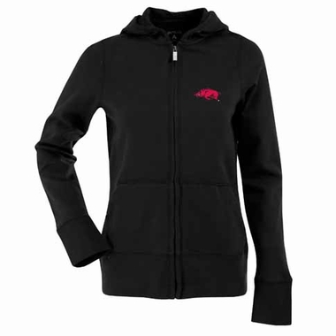 Arkansas Womens Zip Front Hoody Sweatshirt (Alternate Color: Black)