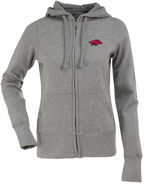 Arkansas Womens Zip Front Hoody Sweatshirt (Color: Gray)