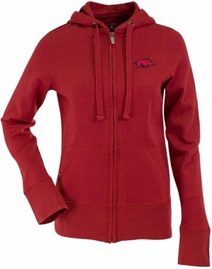 Arkansas Womens Zip Front Hoody Sweatshirt (Color: Red)