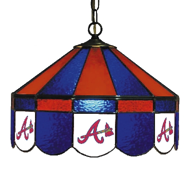 Atlanta Braves 16 Inch Diameter Stained Glass Pub Light
