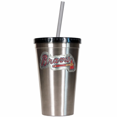 Atlanta Braves 16oz Stainless Steel Insulated Tumbler with Straw