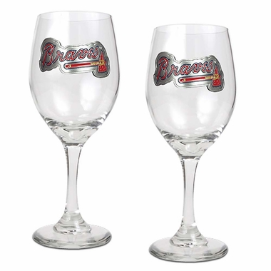 Atlanta Braves 2 Piece Wine Glass Set