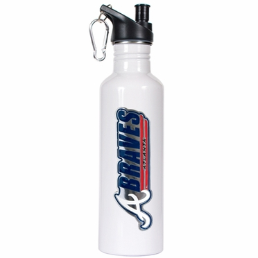 Atlanta Braves 26oz Stainless Steel Water Bottle (White)