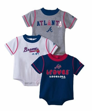 Atlanta Braves 3 Pack Creeper Set