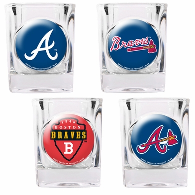 Atlanta Braves 4 Piece Assorted Shot Glass Set