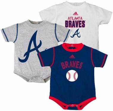 Atlanta Braves Adidas 3 Pack Bodysuit Creeper Set