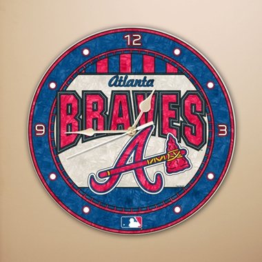 Atlanta Braves Art Glass Clock