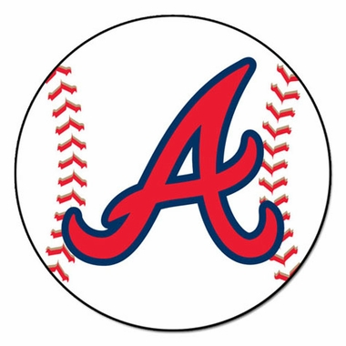 Atlanta Braves 27 Inch Baseball Shaped Rug