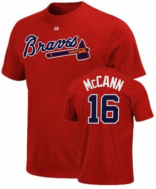 Atlanta Braves Brian McCann Name and Number T-Shirt (Red)