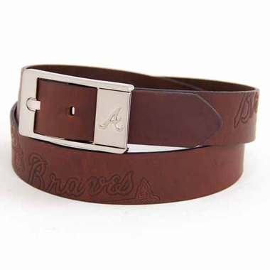 Atlanta Braves Brown Leather Brandished Belt