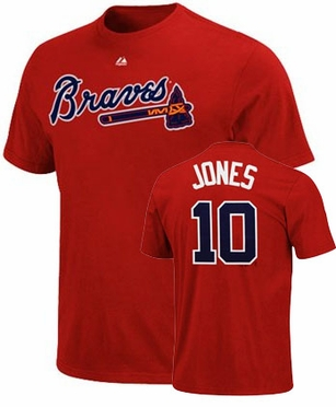 Atlanta Braves Chipper Jones Name and Number T-Shirt (Red)
