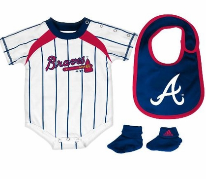 Atlanta Braves Creeper Bib and Bootie Set