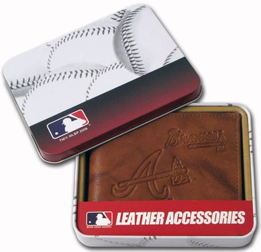 Atlanta Braves Embossed Leather Bifold Wallet