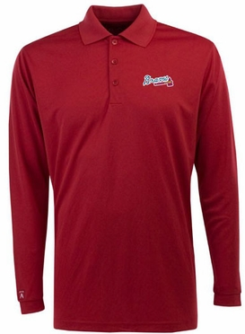 Atlanta Braves Mens Long Sleeve Polo Shirt (Team Color: Red)