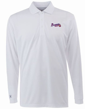 Atlanta Braves Mens Long Sleeve Polo Shirt (Color: White)