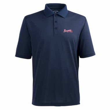 Atlanta Braves Mens Pique Xtra Lite Polo Shirt (Color: Navy)