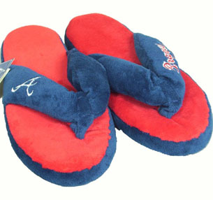 Atlanta Braves Plush Thong Slippers - X-Large