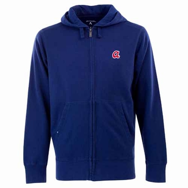 Atlanta Braves Mens Signature Full Zip Hooded Sweatshirt (Cooperstown) (Team Color: Navy)